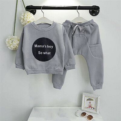 2PCS Toddler Kids Baby Girls Boys Outfits T-shirt Tops+Long Pants Tracksuit Suit