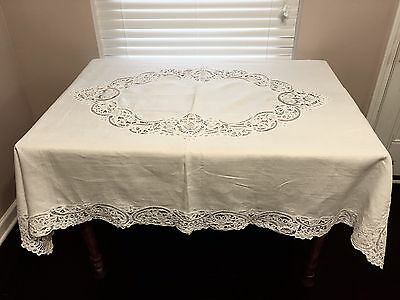 Beautiful Vintage Linen & Battenburg Lace Rectangle Table Cloth