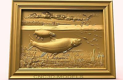3D Model STL for CNC Router Carving Artcam Aspire Fish Fishing Pano 1869