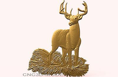 3D Model STL for CNC Router Engraver Carving Artcam Aspire Deer Hart Hunt 1913