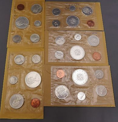 3 1964 And 2 1965 Canadian Silver (Proof Like) Uncirculated Sets Seald