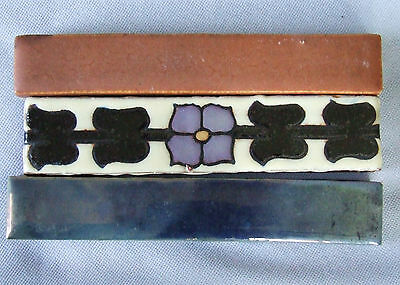 3 Trim Tiles Mosaic Floral Rookwood Matte Ohio Art Pottery Green Blue Lustre
