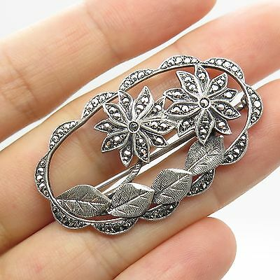 Vintage 925 Sterling Silver Real Marcasite Gemstone Floral Pin Brooch