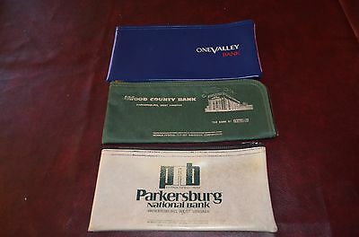 VINTAGE LOT of 3 BANK ZIP BAGS Wood County Parkersburg National One Valley WV