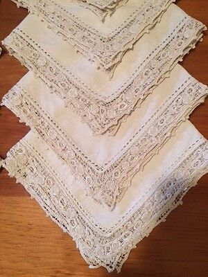 Cantu style antique embroidered linen napkins