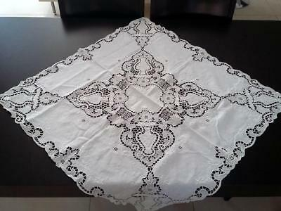 Vintage Embroidered Linen Small Tablecloth.Handmade Crochet Lace Edges.Antique