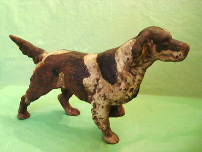 OLD antique? ENGLISH SETTER DOG CAST IRON DOOR STOP Hubley? POINTER Hunting Dog