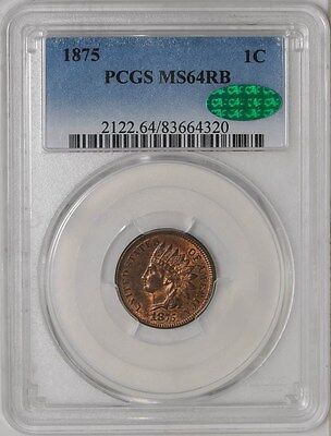1875 Indian Head Cent 1c MS64 RB PCGS ~ CAC