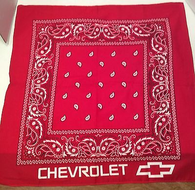 "Chevrolet Chevy Handkerchief Bandana 21"" Square Red White"