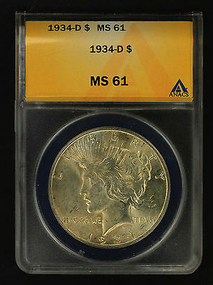 1934-D Silver Peace Dollar ANACS MS-61 -154272