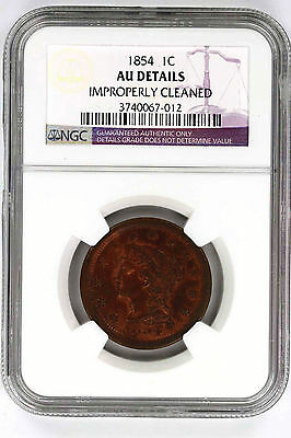 1854 Braided Hair Large Cent NGC AU Details Improperly Cleaned -143189