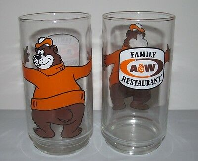 Two (2) A & W Family Restaurant Root Beer Bear Hugging Glasses NOS NEW