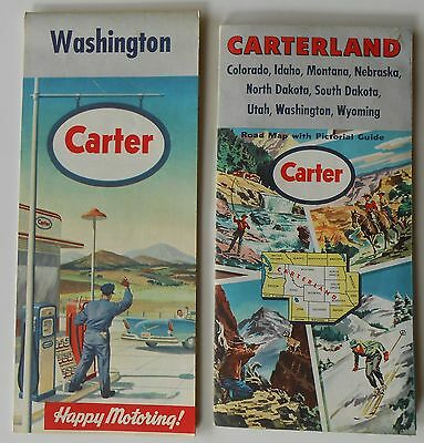 2 1950s road maps with Carter logo