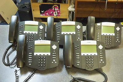 Lot of (5) Polycom IP550 SIP Business Phones 2201-12550-001 w/Handsets & Stands