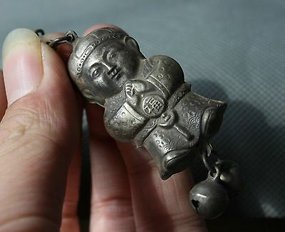 Old Chinese Miao Silver Feng Shui Tongzi Boy Kid Luck Pendant Small Bell