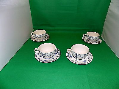 Furnivals Denmark Cups & Saucers x 4