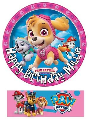 Paw Patrol Skye Everest Cake toppers edible 7 Inch / cupcakes Precut FREE BANNER