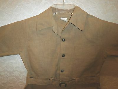 Vintage Boys Brown Jumper Romper Size 6 1940's?? Good Condition With Belt