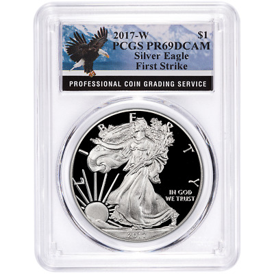 2017-W Proof $1 American Silver Eagle PCGS PR69DCAM First Strike Eagle Label
