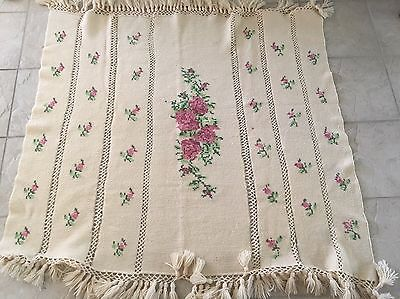 HANDMADE CROCHET AFGHAN - ROSES /  - Floral Pink IVORY 53 X 46