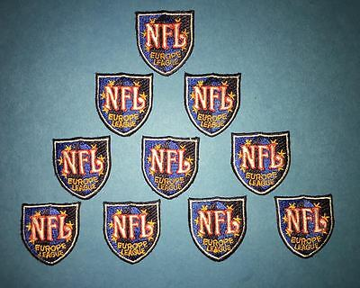 10 Lot Rare Vintage NFL Europe League Football Jersey Iron On Neck Tag Patches