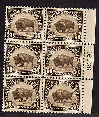 $US Sc#569 M/NH/F-VF+, perf 11, Buffalo, Plate block of 6, Cv. $475