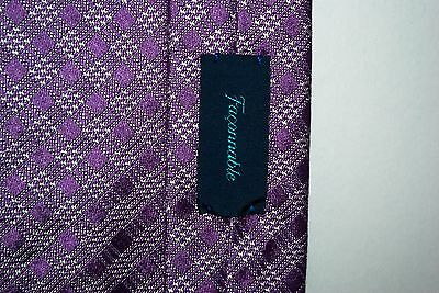 Purple Faconnable 100% Silk Tie Made in Italy 61 x 3.5