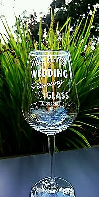 Engraved Wedding Planning Wine Glass - Personalised with Date - New
