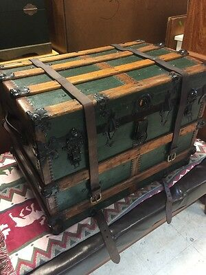 Antique Steamer Trunk Vintage Victorian Fancy Wooden Travel Chest C1890