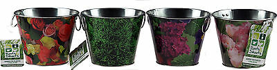 Set Of 4 Small / Mini Tin Pretty Flower Design Plant / Herb Pots