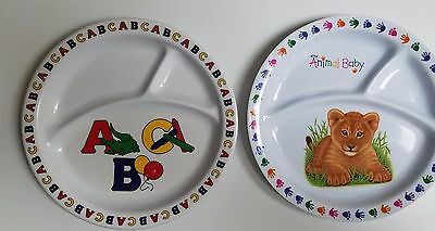 """Wild Animal Baby Lion 3-Section Melamine Plate & ABC Plate 8.25"""" Lot of 2"""