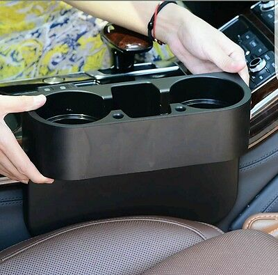 Black 2 Cup Holder Drink Beverage Seat Wedge In Car Auto Truck Universal Mount