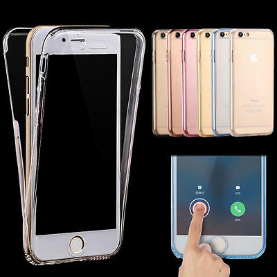 Front and Back Clear Full Protection TPU Gel Skin Case  For Samsung & iPhone
