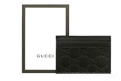 New Gucci Black Gg Guccissima Leather Credit Card Holder Case W/id Window Wallet