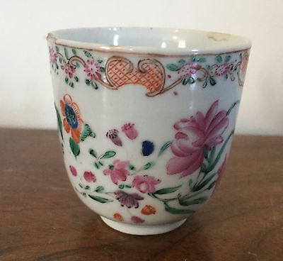 Antique Chinese Export Porcelain Tea Cup Famille Rose 1760 18th century Flowers
