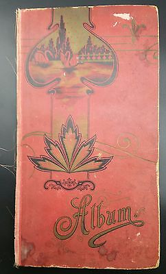 Impressive Red Edwardian Album Filled with Approx 260 Postcards, All Pictured