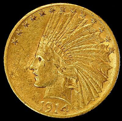 1914 S $10 US Indian Head Gold Eagle Coin (04477)
