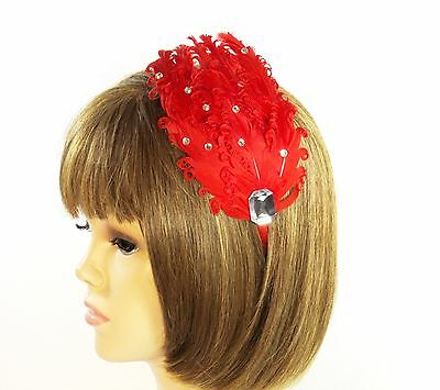 Red Curly Feather Pad Crystals Satin Headband Fascinator Red Hat Society Ladies