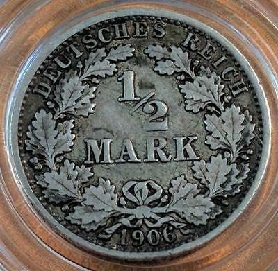 A Silver 1906-A Rarity! From the Empire of Germany 1/2 Mark. No Reserve!!  Look!