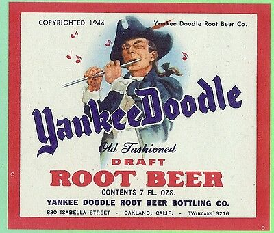Yankee Doodle Draft Root Beer 7 oz Soda Label Oakland California
