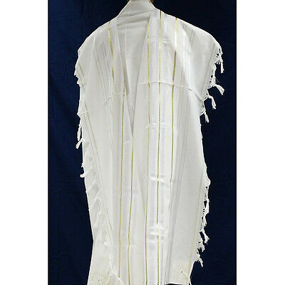 TRADITIONAL ACRYLIC TALLIT WITH GOLD STRIPES - Jewish Prayer Shawl - SIZE 18