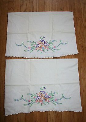Antique Vintage Pair Hand Embroidered Crocheted Pillowcases Multicolor Floral