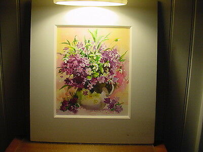 """ORIGINAL SIGNED WATERCOLOR PAINTING  PITCHER OF FLOWERS - MATTED 14""""x16"""""""