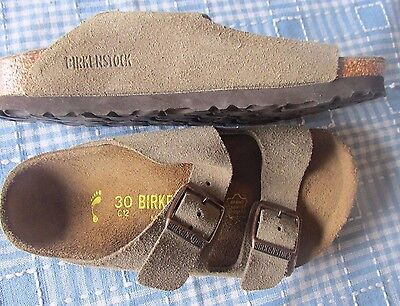 """Birkenstock Strap Sandals Girls Size 30 C12 Tan Suede Leather Shoes """"new"""""""
