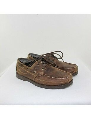 TIMBERLAND Men's Brown Leather Boat Shoes Size 8W