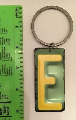 Keychain - Letter E- Yellow & Green- Vintage Metal License Plate Look- NEW