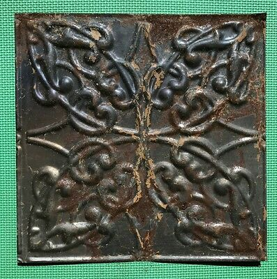 "12"" Antique Ceiling Tile - Rusty Metal Patina - Tan Paint - Intricate Design  A1"