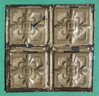 "12"" Antique Tin Ceiling Tile - Chippy Brown Paint - Small Flower Design - A1"