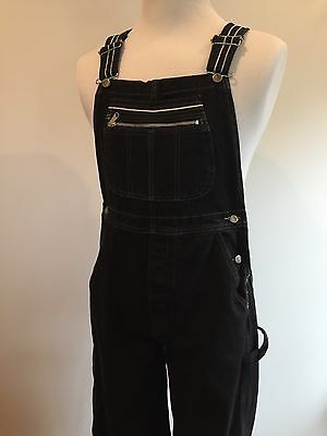 Men's LEE PIPES Bib Overalls BLACK  Denim Carpenter  Size M EUC  WIDE LEG