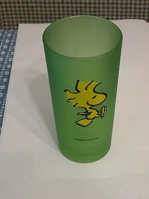 Woodstock Drinking Glass - Frosted Green snoopy peanuts  CHARLIE BROWN